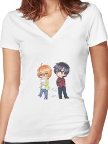 Love Stage! Chibi Izumi and Ryouma Women's Fitted V-Neck T-Shirt