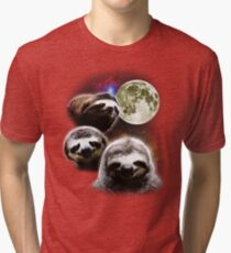 Funny Space Sloths  Tri-blend T-Shirt