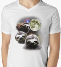 Funny Space Sloths  Men's V-Neck T-Shirt