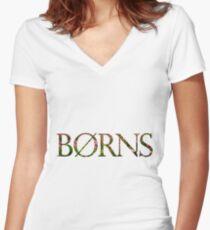 Borns Sunflowers Women's Fitted V-Neck T-Shirt