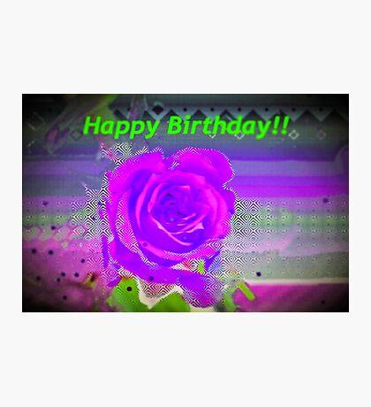 Purple rose birthday card Photographic Print