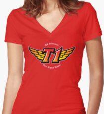 SKT T1 Logo (best quality ever) Women's Fitted V-Neck T-Shirt