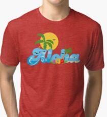 Aloha Hawaii T-Shirt Hawaiian Paradise Beach Sun Sand TShirt Tri-blend T-Shirt