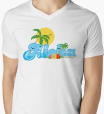 Aloha Hawaii T-Shirt Hawaiian Paradise Beach Sun Sand TShirt Men's V-Neck T-Shirt