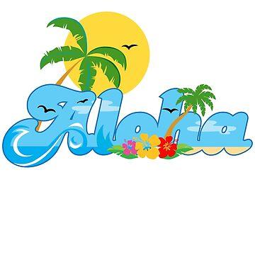 Aloha Hawaii T-Shirt Hawaiian Paradise Beach Sun Sand TShirt by Syfcondesign