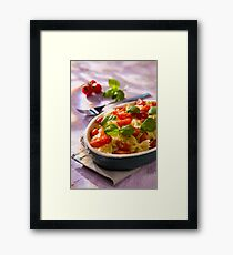 Italian Farfalle pasta with tomatoes and basil Framed Print