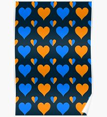 orange and blue heart pattern  Poster