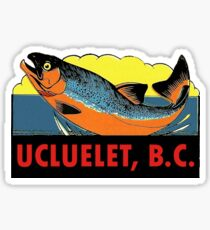 Ucluelet BC Salmon Fishing Vintage Travel Decal Sticker
