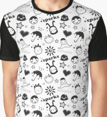 Crazy black and white funny seamless pattern with cartoon characters  Graphic T-Shirt