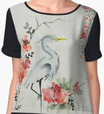 Watercolor Asian crane illustration Chiffon Top