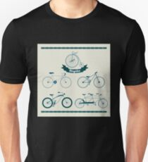Set of Different Bicycles in Vintage Style.  Unisex T-Shirt