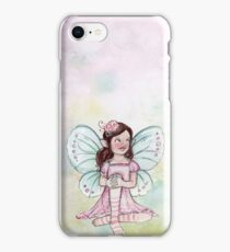 Girly fairy on pink pastel background iPhone Case/Skin