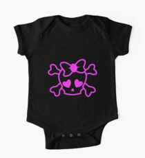 Pink girly emo skull with bow teenage girl on black Kids Clothes
