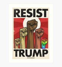 Resist Trump, Fists (Vector Recreation) Art Print