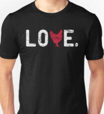 I Love Chickens Backyard Chicken Owner Urban Farmer Funny Love Word Graphic Tee Shirt Unisex T-Shirt