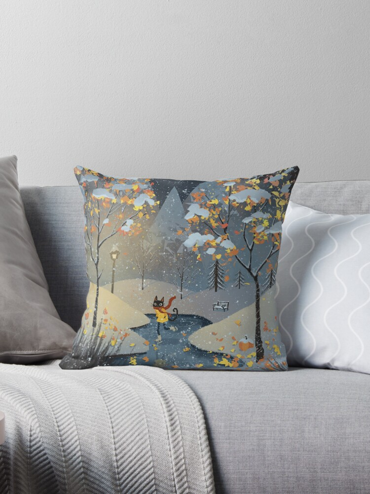 Quot Ice Skating Cat Quot Throw Pillow By Katiecrumpton Redbubble