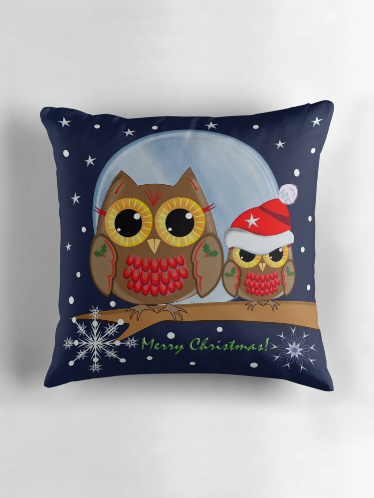 Quot Cute Christmas Owls Amp Merry Christmas Text Quot Throw Pillows