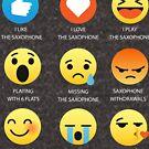 I Love The Saxophone Sax Band Emoji Emoticons Funny Geek Nerd Graphic Tee Shirts by DesIndie
