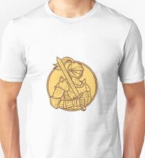 Knight Sword On Shoulder Circle Mono Line Unisex T-Shirt