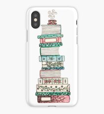 Pink and Blue Floral Bookstack iPhone Case/Skin