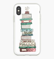 Pink and Blue Floral Bookstack iPhone Case