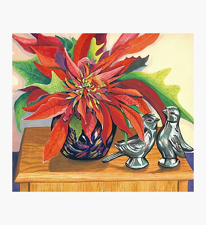 Lovebirds with Poinsettia Photographic Print