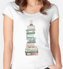 Pink and Blue Floral Bookstack Women's Fitted Scoop T-Shirt