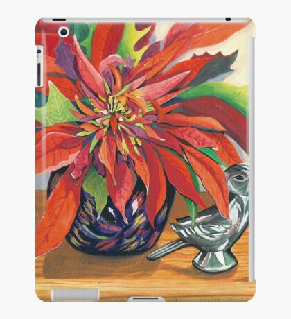 Lovebirds with Poinsettia iPad Case/Skin