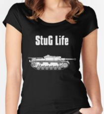 Camiseta entallada de cuello ancho StuG Life - Historia militar visualizada (versión vertical)