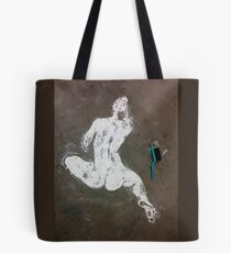 seated nude in rice flour with brush on floor Tote Bag