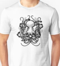 Octupus and COral Black and White T-Shirt