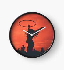 Hooping Silhouette on a Fiery Sky Clock