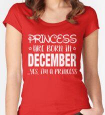 Camiseta entallada de cuello redondo Las princesas nacen en DICIEMBRE Sí aa46a0e30f4dd