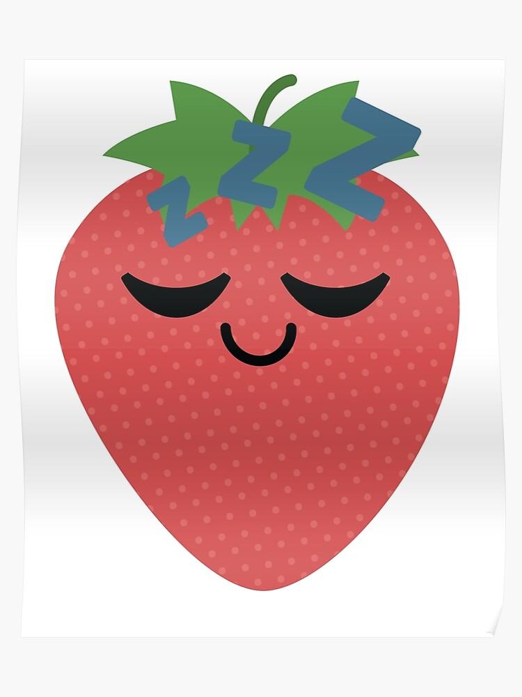 Strawberry Emoji Tired and Sleep   Poster