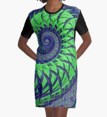 Seattle Blue and Green Spiral Fractal Graphic T-Shirt Dress