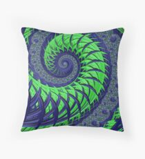 Seattle Blue and Green Spiral Fractal Throw Pillow