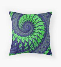 Seattle Blue and Green Spiral Fractal Throw Pillow