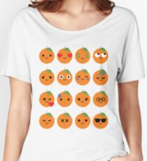 Orange Emoji Different Facial Expression Women's Relaxed Fit T-Shirt