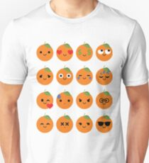 Orange Emoji Different Facial Expression Unisex T-Shirt