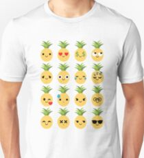Pineapple Emoji Different Facial Expression Unisex T-Shirt