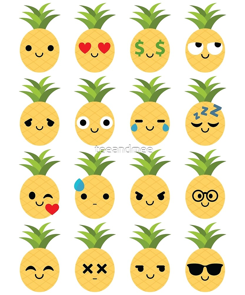 Pineapple Emoji Different Facial Expression by teeandmee