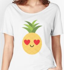 Pineapple Emoji Heart and Love Eye Women's Relaxed Fit T-Shirt