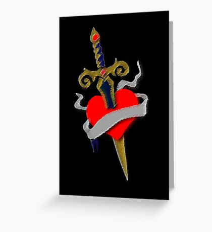Tattoo vintage old school inspired dagger and heart Greeting Card