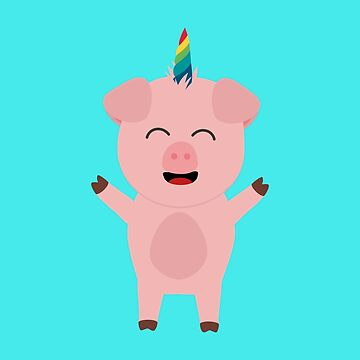 Unicorn Pig with rainbow by ilovecotton