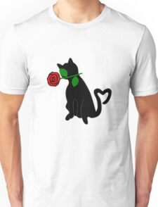Cute Black Cat Red Rose Love Valentine Gift Unisex T-Shirt