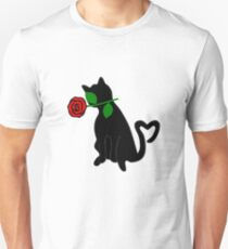 Cute Black Cat Red Rose Love Valentine Gift T-Shirt