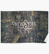 New York City Photo Typography Cool Vintage Design Poster