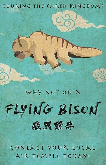 «Vintage Flying Bison Travel Poster» de Phantomtollboy