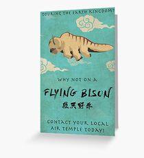 Vintage Flying Bison Travel Poster Greeting Card