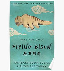 Vintage Flying Bison Travel Poster Poster